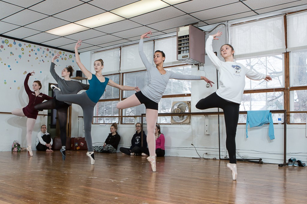 "ORB company dancers (left to right) Madison Henry, Morgan Jacoby, Abbey Shull, and Victoria Stachelrodt (all of Franklin) and Rachel Leech (Meadville) display ""attitude"" while rehearsing their performance as ""Flock of Flamingos"" in Act 2."