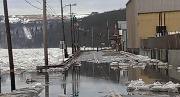 Roadway flooded in Parker due to ice jam,.  Taken by Paul Murray on February 23, 2014.