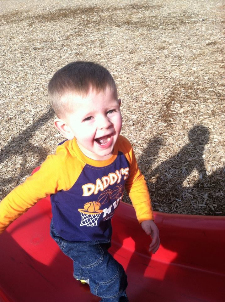 """Greyson was excited it was warm enough to finally get to play on the playground!""  Submitted by Jennifer Blondeaux."