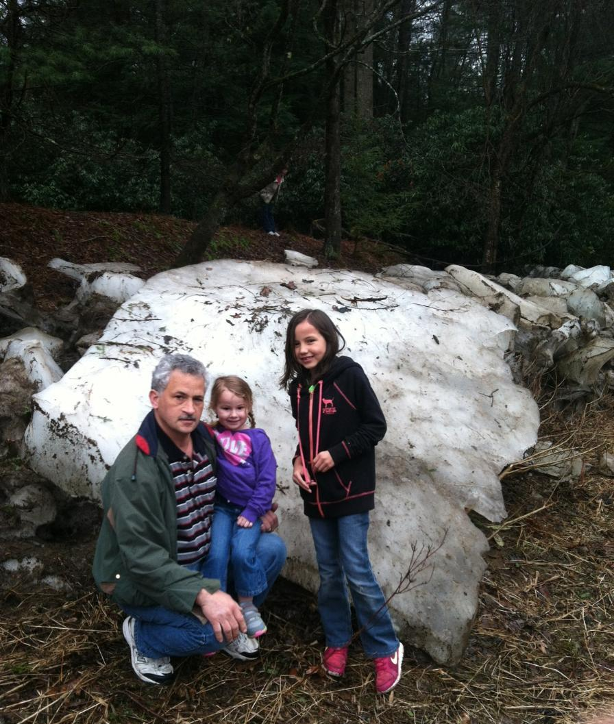 Vernon Hilyer, granddaughter Tantruh & great niece from Atlanta, Baiden Blosser checking out the large ice chunks still laying on the banks at Gravel Lick on Friday April 11.  Submitted by Vernon Hilyer.