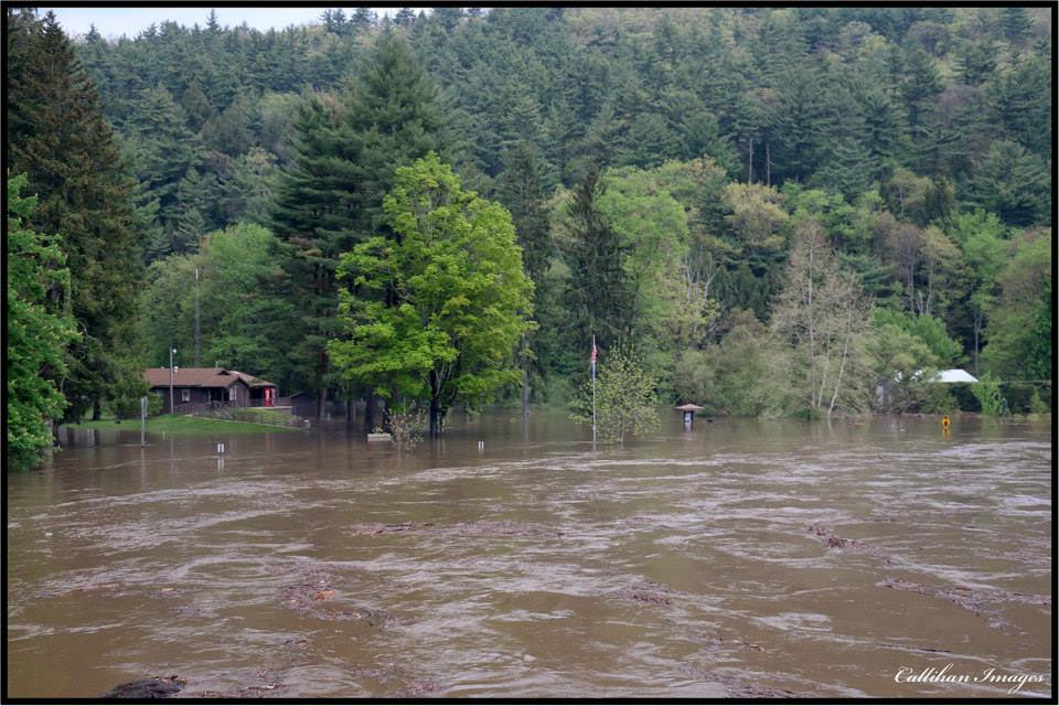 Flooding in the Cook Forest area. Photo captured by Devin Callihan.