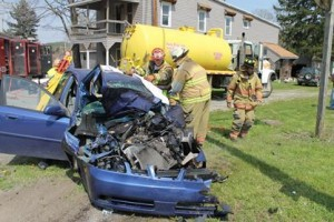 Car Slams into Truck on Route 36; Two Teens Injured
