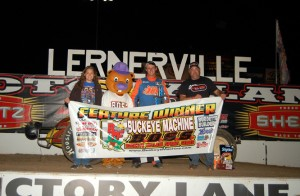 Logan Hupp in victory lane after a thrilling victory at Lernerville