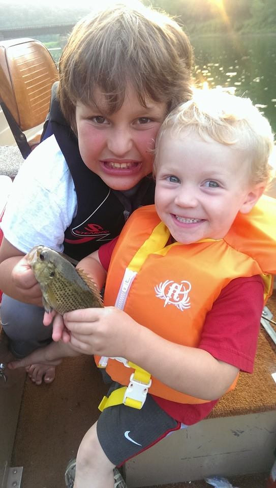 """Jase Murray (almost 3 yrs. old) caught this rock bass from the Clarion River with the aid of his older brother Colton Murray, (10 yrs. old) on Saturday evening 8/9/14.""  Submitted by Paul Murray‎."