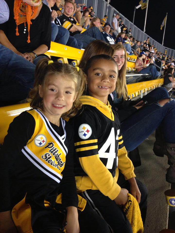 """""""Treyvin and Kiara Ackerman cheering on the Steelers at the first Pre-Season Game against Buffalo!""""  Submitted by Bethany Ackerman."""