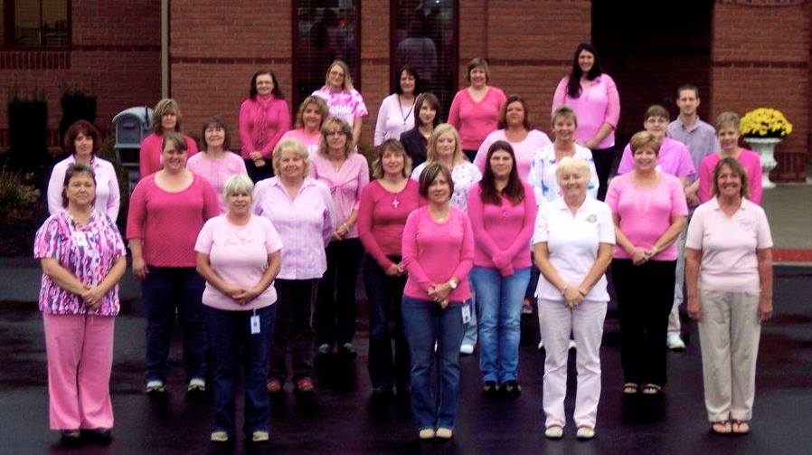 VNA Employees in pink to support Breast Cancer Awareness.