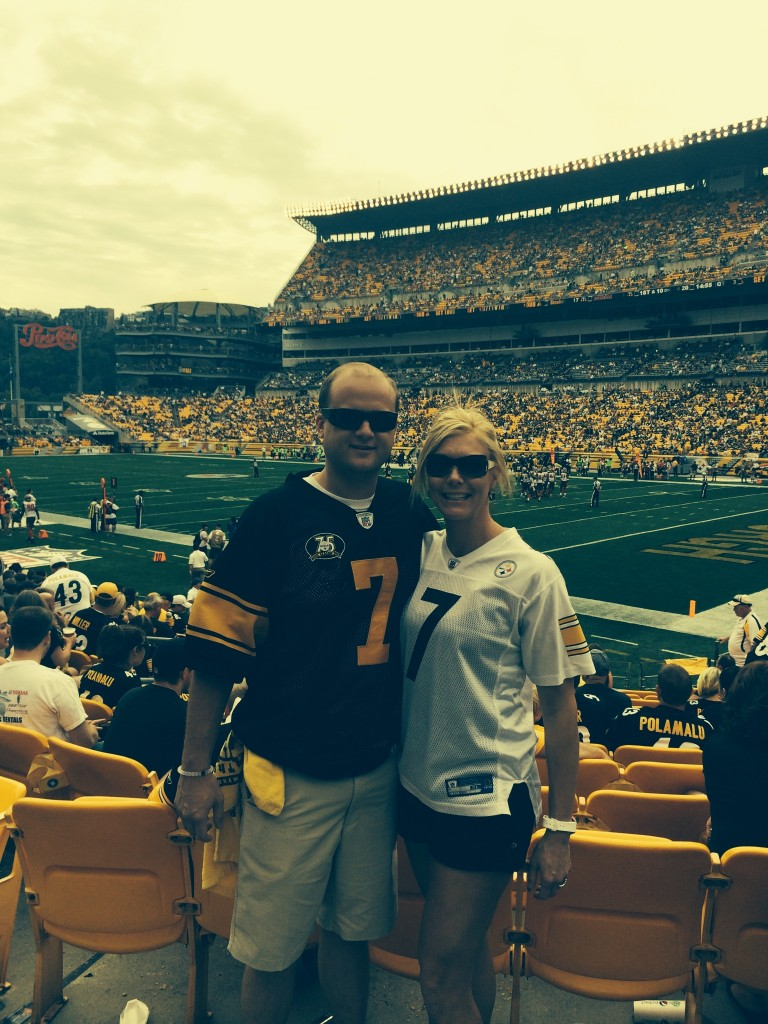 Dan Niederriter and Brigette Irwin at a recent Steelers game.
