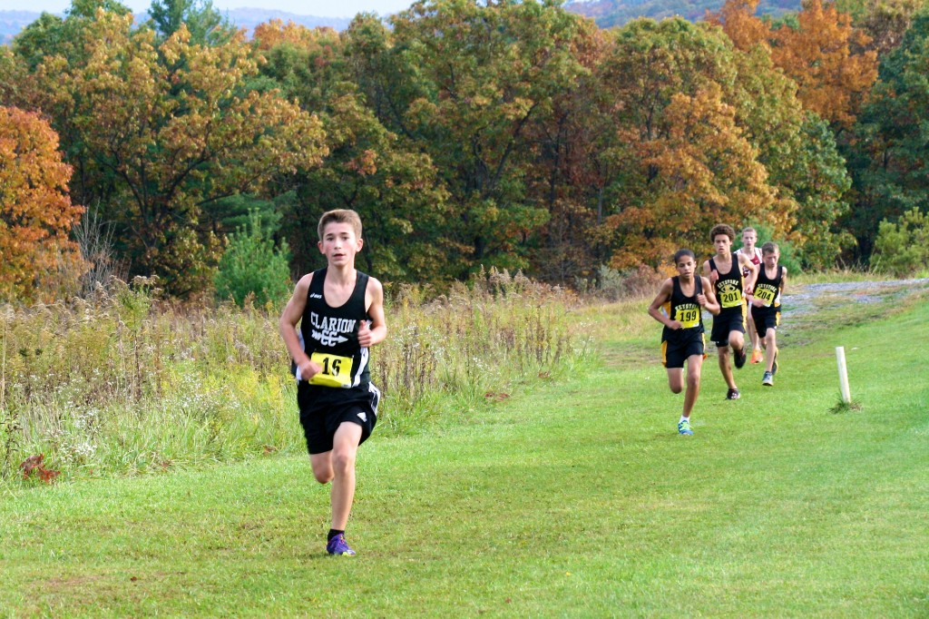 Clarion Area 7th grader Nathaniel Lerch won the Junior High Cross Country Keystone Shortway Athletic Conference Championship 10-16-14 at Clarion County Park.  Crossing the finish with a personal best time of 10:32 averaging a 6:01/mile split.