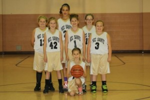 """""""Picture of NCC Saints on Saturday October 25th with a victory against St.Patrick with a finishing score of 18-17."""" Pictured are (front) Melia Baumcratz; (second row, left to right) Claire Kriebel; Maddie Homan; KayleightCapelle; (third row, left to right) Abby Gwin; Trinity Thompson; and Gwen Siegel."""