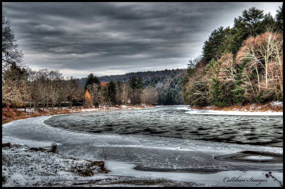"""""""I crossed the Clarion River on Route 36 in Cook Forest State Park and saw the first ice flowing on the river."""" Submitted by Callihan Images."""