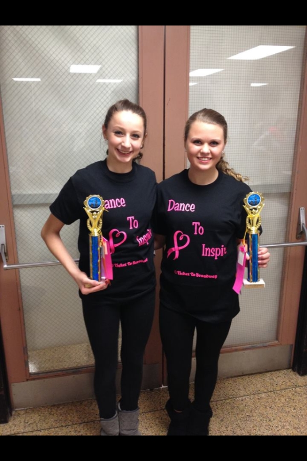 Kelsey Wolf and Larissa Lauer, students at Dancers Studio in Clarion, PA received the Dance to Inspire Award at Ticket to Broadway. Only one routine out of 47 was awarded this. All proceed from their registration fees will be donated to help fight cancer. They also received a Platinum Award, 1st overall in 13/14 duo/trio division, 2nd overall in all duo/trios (ages 13-18). Dancer's Studio is owned and directed by A-Jo Gallagher and this routine was choreographed by Tony Bradford (NYC choreographer/instructor).