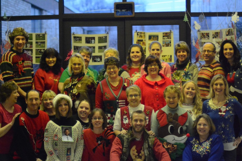"""""""Ugly Sweater Day at East Forest. The winner of the ugliest sweater was Heather Siegel.""""  Submitted by Debra Arner, Principal, East Forest JR/SR High."""