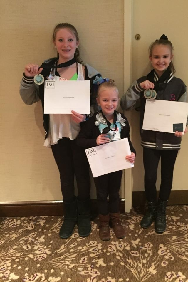 """""""Three Dancer's Studio students were presented with scholarships from Dance Makers Inc. in Pittsburgh based on their outstanding performance in classes."""" From left to right: Abigail Keth, Caitlyn Wolfe, and Abbey Barron. Photo submitted by AJo Gallagher."""
