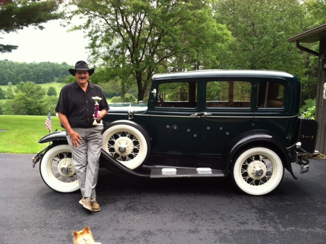 "Don Niederriter and ""Jesse,"" a 1931 Model A Ford.  They won first place at the Highland Oaks Classic Car Show on Sunday, June 28, 2015."