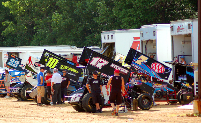 The pits were full of sprint cars during their last visit to Tri-City Raceway