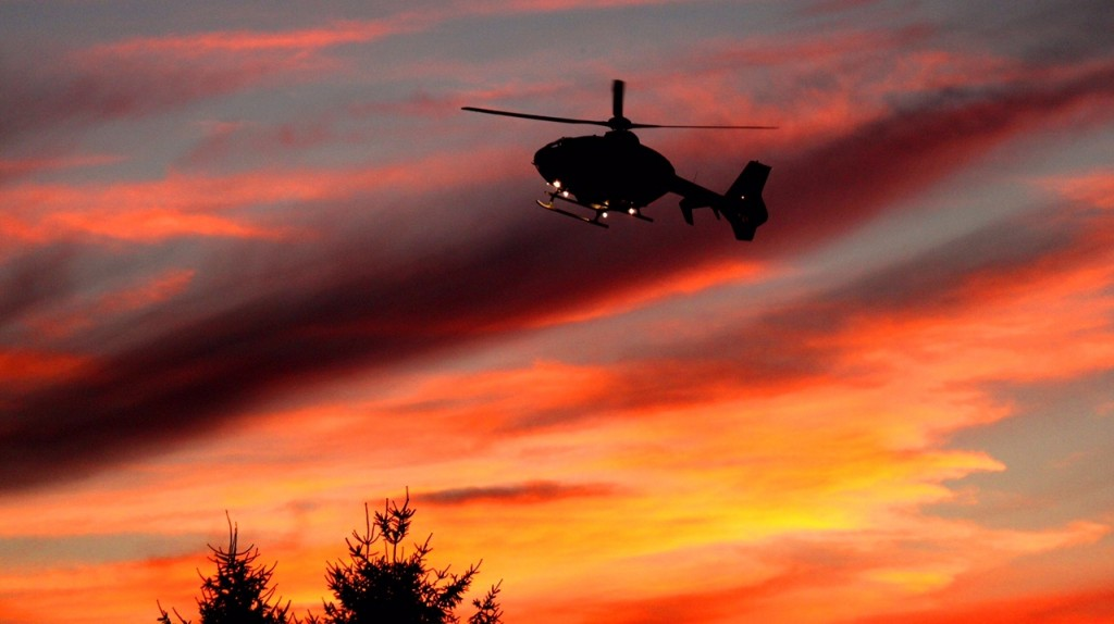 Stat Medivac landing at Clarion Hospital with an amazing sunset backdrop. Photo by G. Chad Thomas